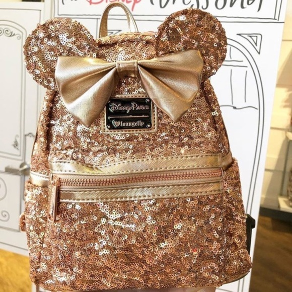0d0f48f9f9c Disney Parks Rose Gold Backpack Minnie Mouse